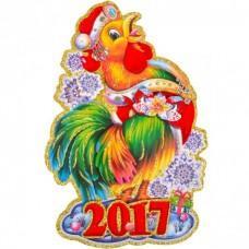 Новогодний стикер, панно на окно «Петух» (код товара NNP38)