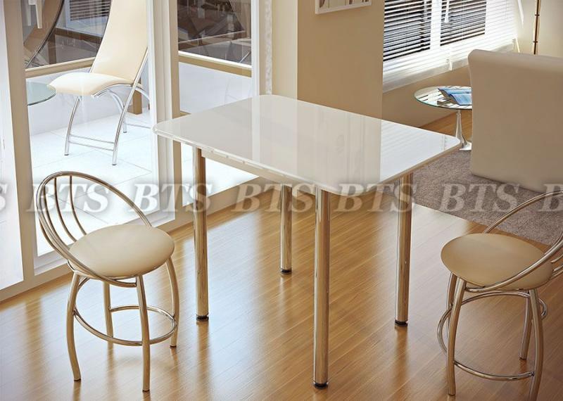 Фото Обеденные столы Стол обеденный белый глянец (БТС)