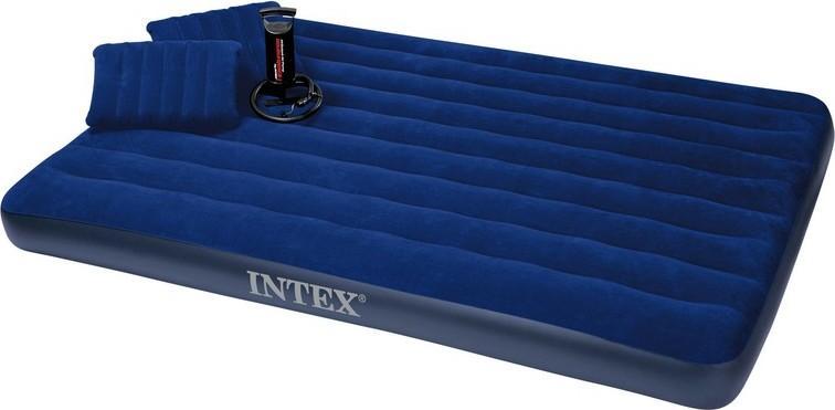 Матрас 2 двухместный надувной  Intex 152х203х22 см. + 2 подушки и ручной насос