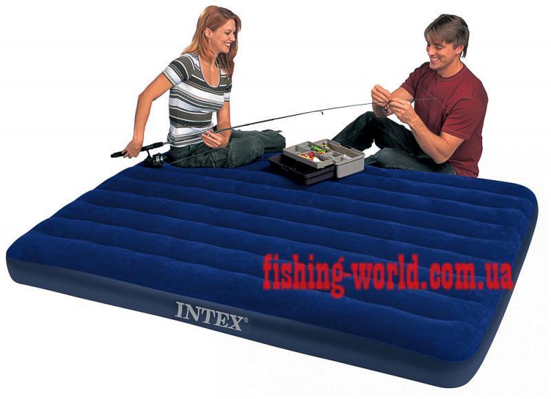Фото Матрасы, надувные кровати Матрас 2 двухместный надувной  Intex Classic Downy 152х203х22 см.