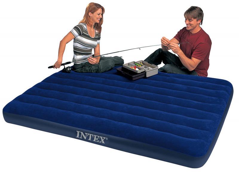 Фото Матрасы, надувные кровати Матрас 2 двухместный надувной  Intex Classic Downy 183х203х22 см.