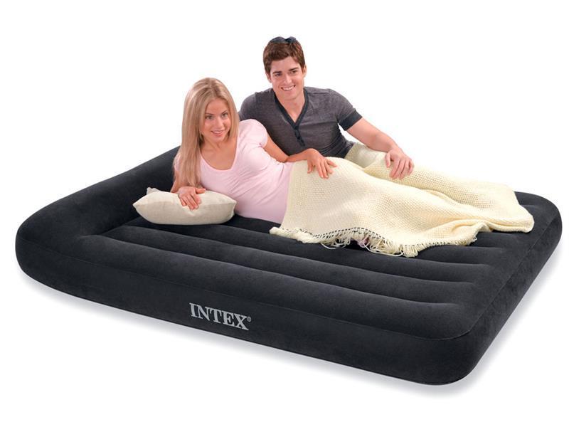 Кровать 1,5 полуторная надувная  с подголовником Intex 137х191х30 см.