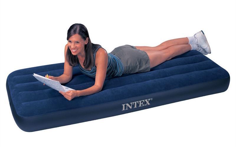 Фото Матрасы, надувные кровати Матрас 1 одноместный надувной  Intex Classic Downy 76х191х22 см.