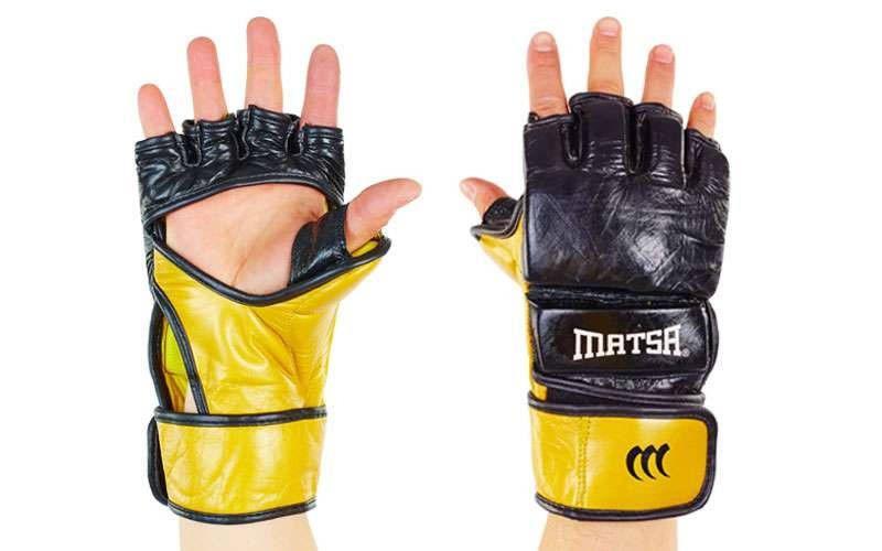 Перчатки для смешанных единоборств MMA Кожа MATSA  (р-р регулируемый, черно-золотой)