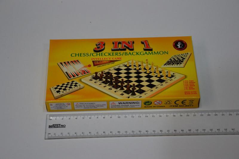 _Шахматы, шашки, нарды набор настольных игр  (дерево, р-р доски 21см*21см)