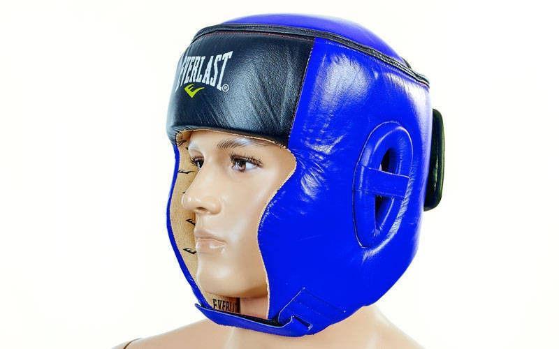 Шлем боксерский в мексиканском стиле Кожа  (синий, р-р L)