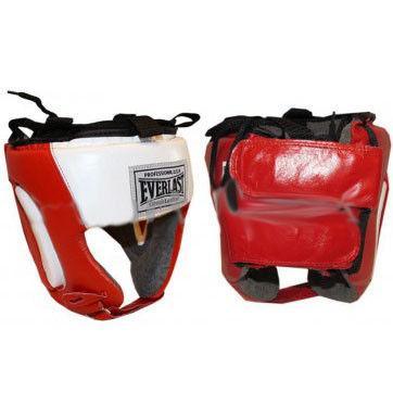 Шлем боксерский открытый с усиленной защитой ушей Кожа ELAST (XL) (красный, р-р XL)