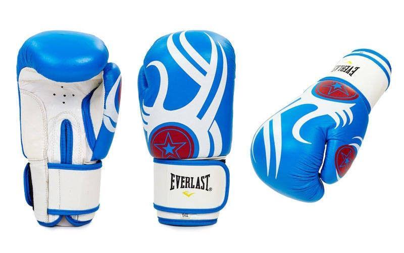"""Перчатки боксерские кожа """"EVERLAST"""" 10, 12 oz (сине-белый, красно-черный, красно-белый)"""