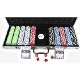 Покерный набор в алюм. кейсе-500 (500фиш.без номин,2кол.карт, 5куб,р-р кейса57*31*6,5см)