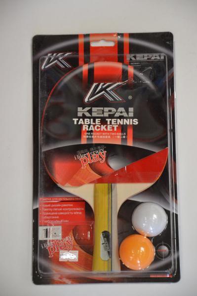 Набор для наст. тенниса KEPAI (1рак+2шар)  1star (древесина, резина, пластик)