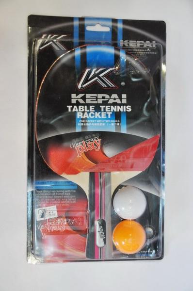 Набор для наст. тенниса KEPAI (1рак+2шар)  2star (древесина, резина, пластик)