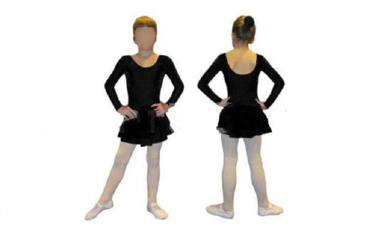 Купальник гимнастический длинный рукав с юбкой черный  детский ( р-р XS-L)