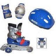 _Набор: ролики раздвижные детские+защита, шлем  (р-р XS/25-28,изменен. полож.колес,роз,син)