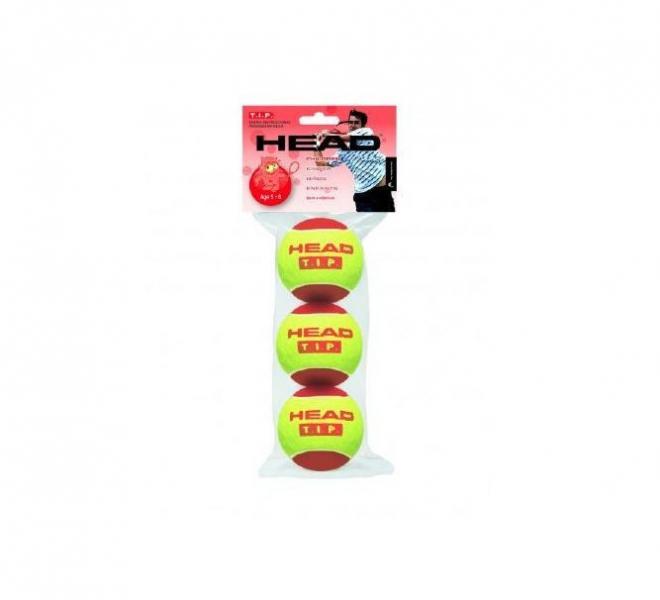 Мяч для большого тенниса HEAD (3шт)  TIP RED (для детей 5-8 лет, в пакете)