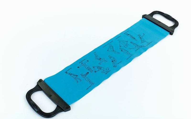 Лента для пилатеса с ручками (эластичная лента) (р-р 0,75м*15см*0,65мм)