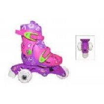_Роликовые коньки раздвижные детские S (29-32) (изменен. полож. колес, фиолетовый-розовый)