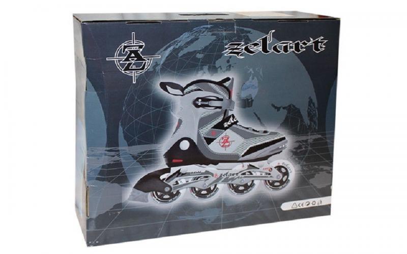 Роликовые коньки ZEL Фитнес  (р-р 42.43.44.45, PL, PVC, колесо PU, алюм. рама, черный-серый)