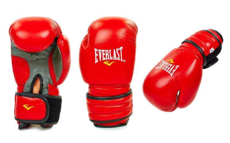 """Перчатки боксерские кожа """"EVERLAST"""" 12 oz красные"""
