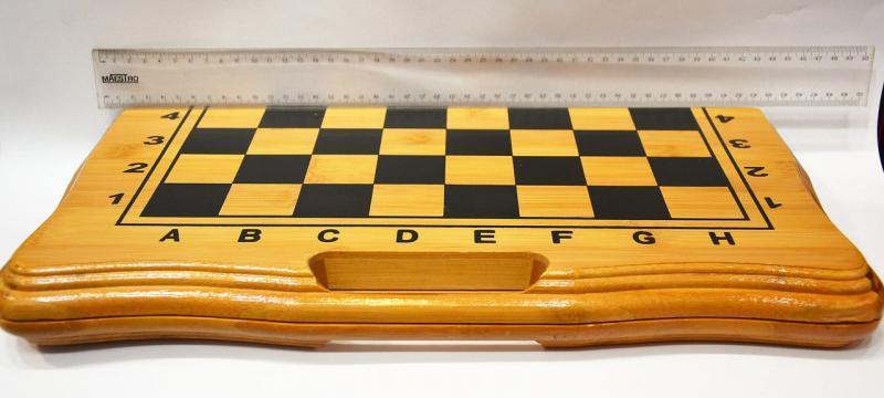 Шахматы, шашки, нарды набор настольных игр бб002 (доска-бамбук,фигурки-дерево, р-р доски 42x42см)