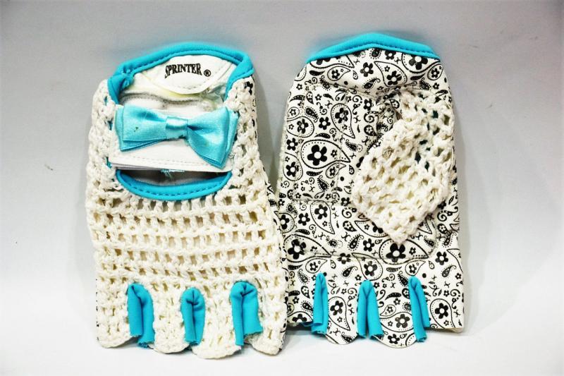 Перчатки женские для велосипедистов. Материал: кожзаменитель, сетка. Размер S