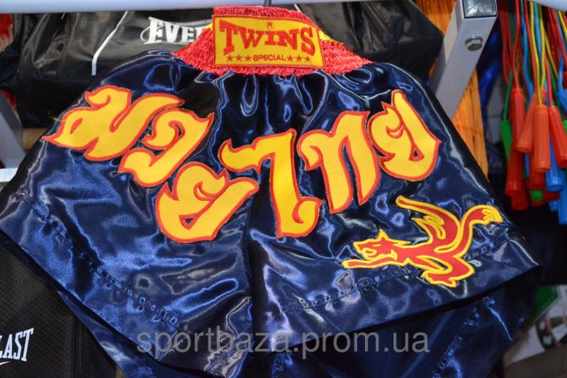 """Шорты для занятий тайским боксом """"ЭЛИТ"""" р-р XL,атлас (синие)"""