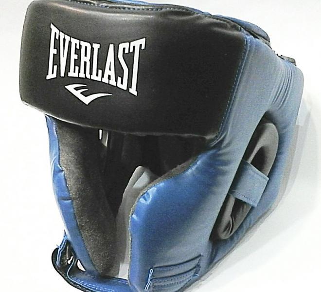 """Шлем боксерский в мексиканском стиле """"EVERLAST""""(синий, р-р L)"""