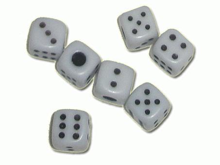 """Кубик игральный белый. В упаковке 100 шт. 12"""""""