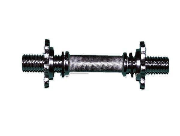 Гриф гантельный L-360 мм, d-25 мм, хромированный, замок-фигурная гайка.