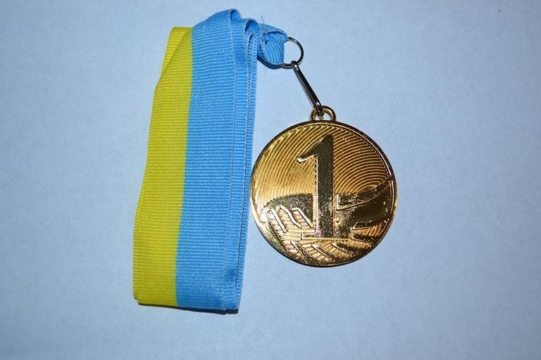 Медаль наградная с лентой, d - 5 см(золото) 1 место