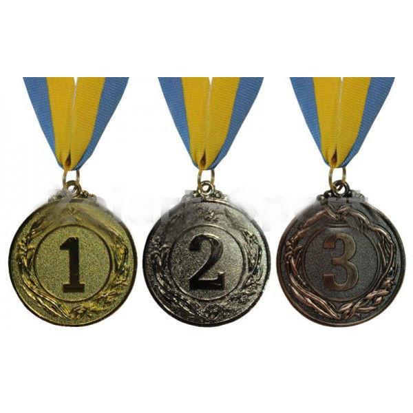 Медаль спортивная d-4,5 см, место 2-серебро