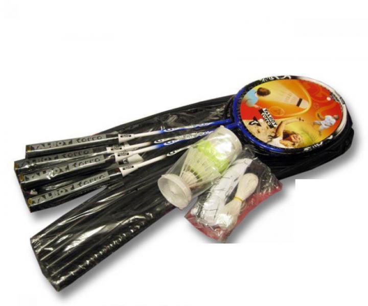 Ракетки для бадминтона (4рак+3 воланчика+сетка+стойк+PVC чехол) TALBOT 449559K (сталь)