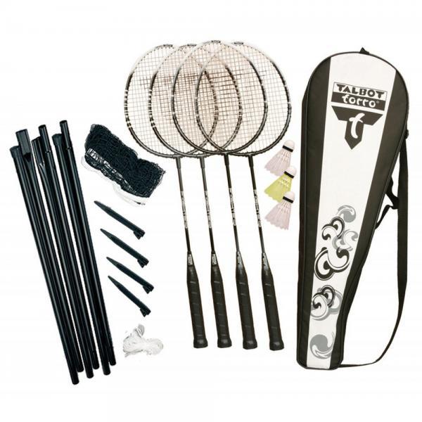 Ракетки для бадминтона (4рак+3 воланчика+сетка+стойка+PVC чехол) TALBOT 449537 FIGHTER (сталь)