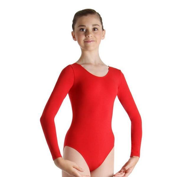 Купальник для гимнастики красный с длинным рукавом