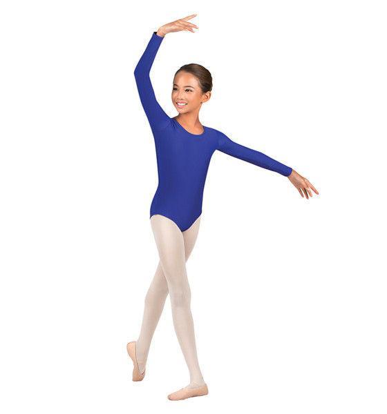 Купальник для гимнастики синий с длинным рукавом