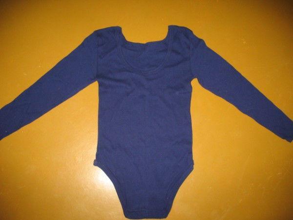 Купальник для гимнастики темно-синий с длинным рукавом