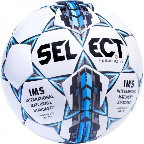 Мяч футбольный №5 SELECT NUMERO-10-FIFA(W) (белый-серый-голубой)