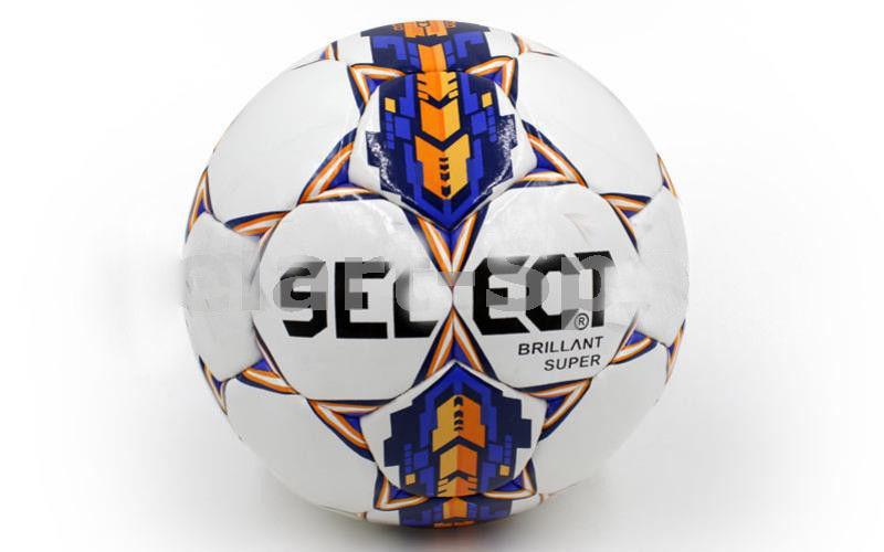 Мяч футбольный Сшит вручную BRILLANT SUPER белый-синий-оранжевый (№5, 5 сл.)