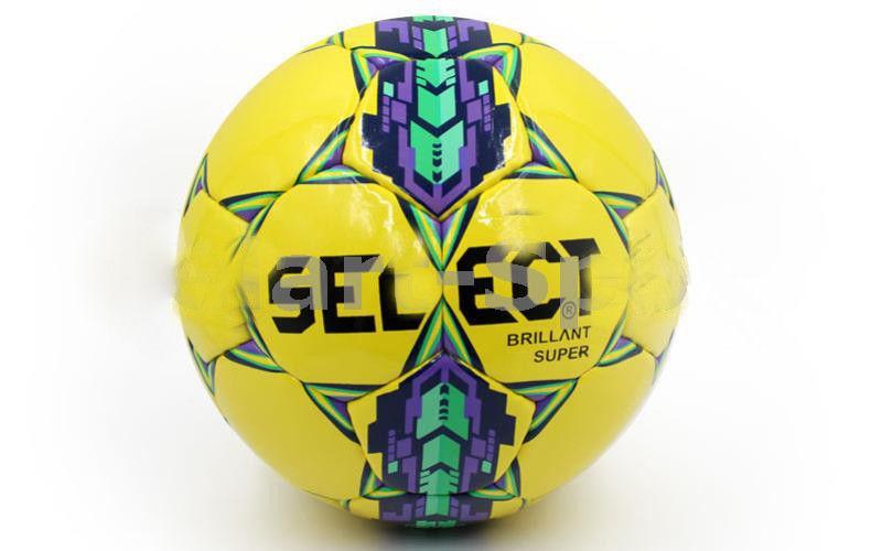 Мяч футбольный Сшит вручную BRILLANT SUPER желтый-фиолетовый-зеленый (№5, 5 сл.)