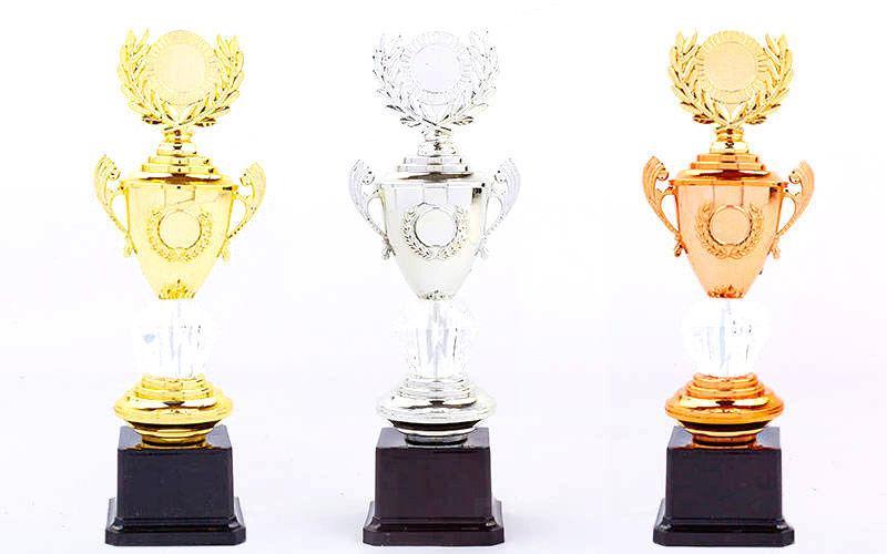 Кубок с ручками, крышкой и местом под жетон (золото, серебро, бронза)