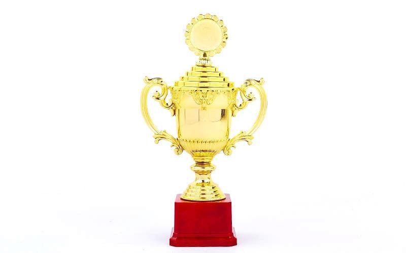 Награда Кубок с ручками, крышкой и местом под жетон h-30 см