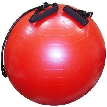 Мяч для фитнеса с эспандерами гладкий глянцевый 65 см (ABS-система)