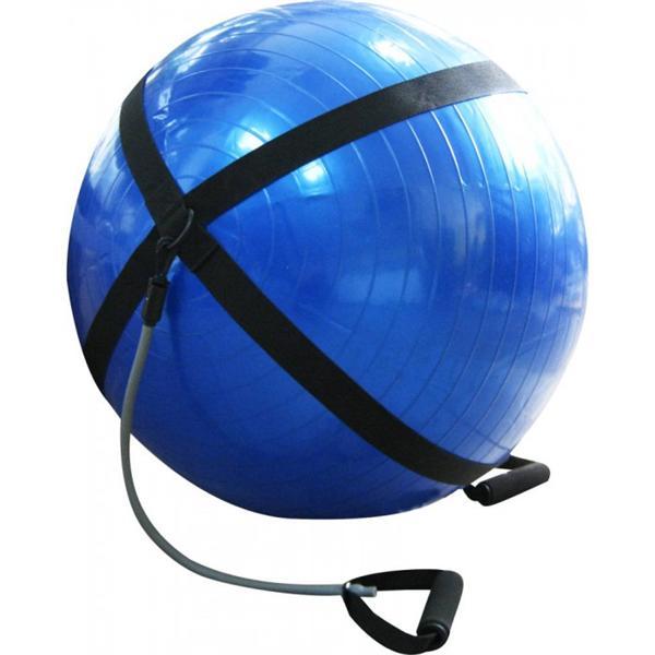 Мяч для фитнеса с эспандерами и ремнем для крепления глянцевый 75 см(ABS-система)