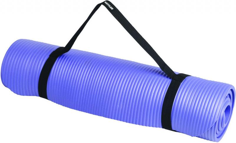 Коврик для фитнеса, каремат NBR 10 мм(синий,фиксирующая резинка)