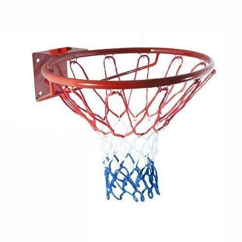 Сетка баскетбольная (нейлон,12 петель, яч. р-р 7x7 см,цвет бело-красно-синий, в компл. 2 шт)