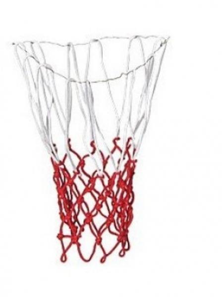 Сетка баскетбольная (нейлон, 12 петель, яч. р-р 7x7см, ,цвет бело-красный, в компл. 2 шт.)