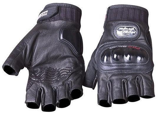 Вело-мото перчатки кожаные (протектор-усилен, р-р M-XL)