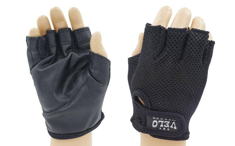 """Велоперчатки текстильные """"VELO"""" (открытые пальцы, р-р S-XL, черный)"""