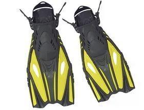 Ласты с открытой пяткой (пяточный ремень) DORFIN PL-451 (р-р S-M(38-41) - L-XL(42-45), желтый, синий, красный,