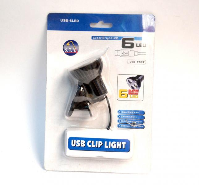 USB подсветка для ноутбука 6 Led фонарик с прищепкой