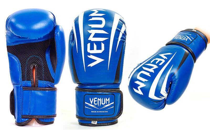 Перчатки боксерские на липучке VENUM (р-р 10-12oz, синий)